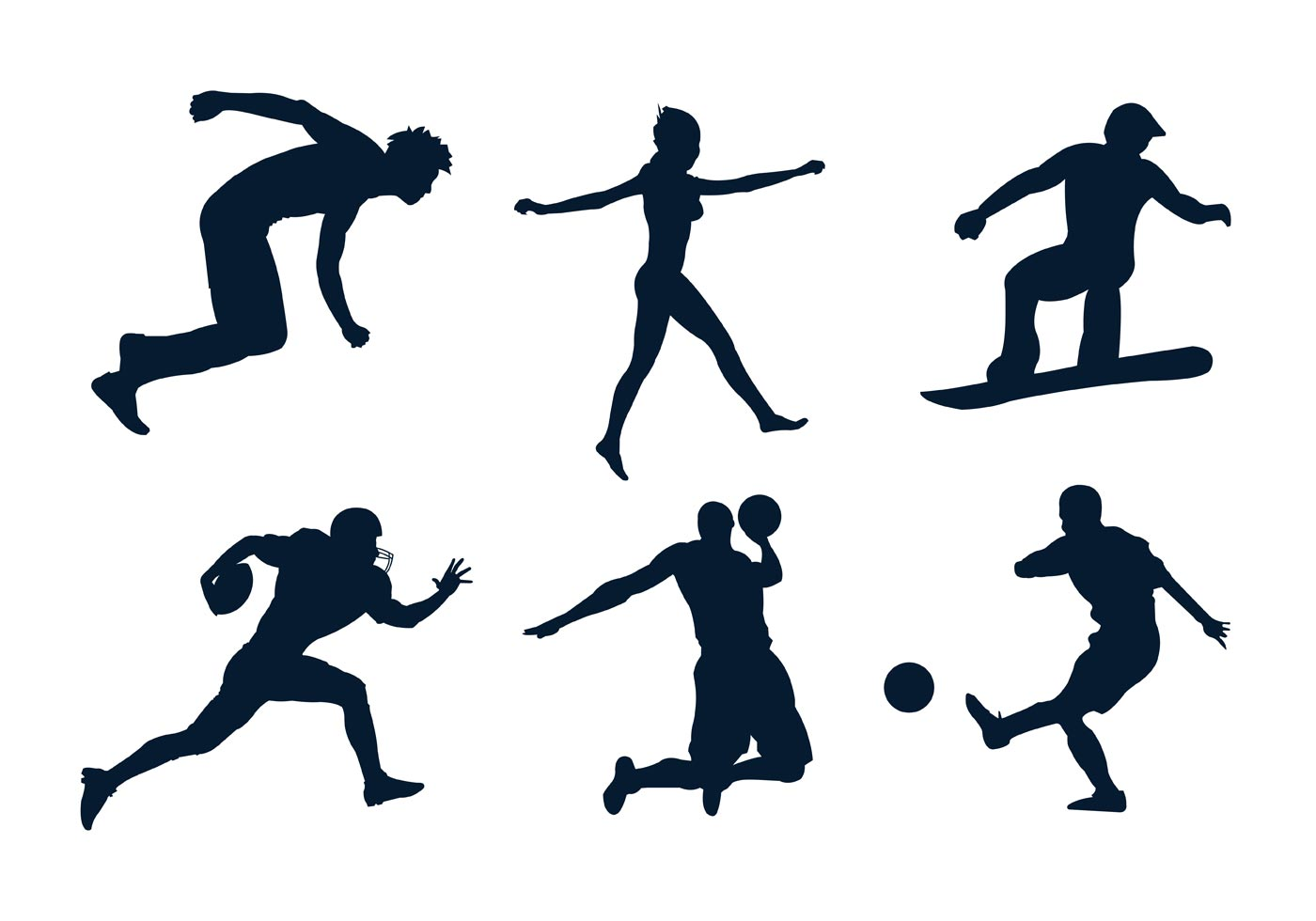 Set of Various Sportsmen's Silhouettes in Vector