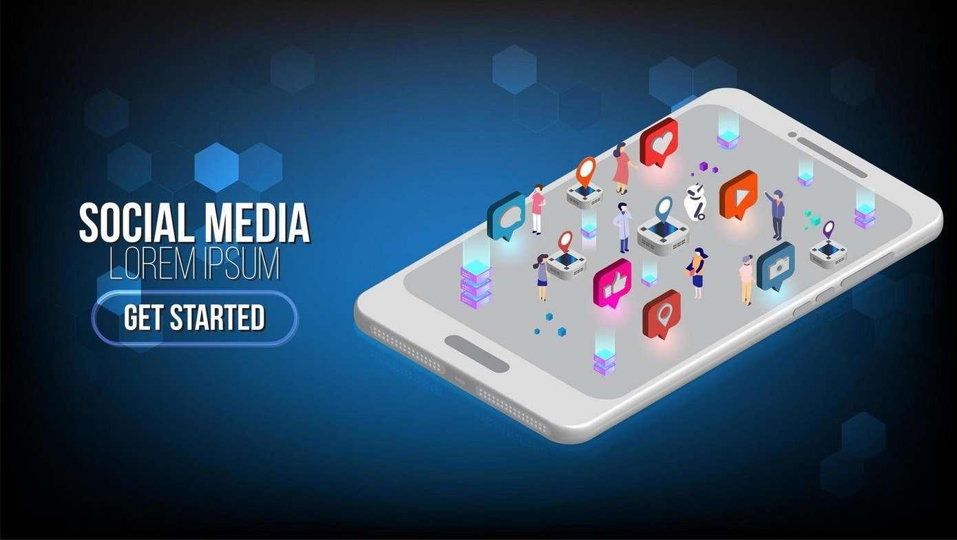 Social media marketing isometric landing page