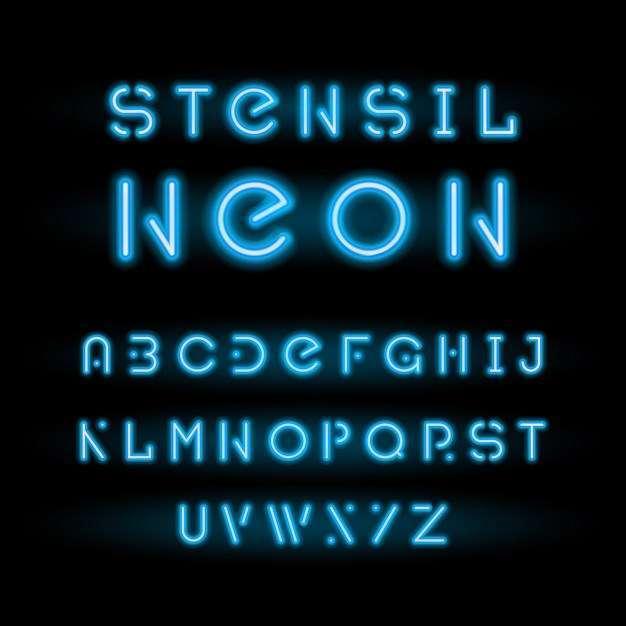 Stencil neon typeface, blue modular round alphabet