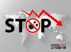 Stop Text with Coronavirus Icon on World Map