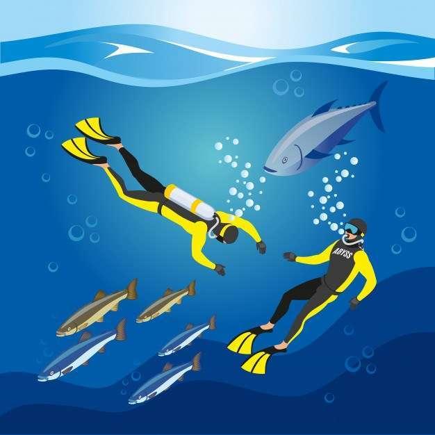Underwater depths research composition