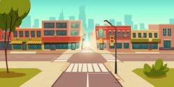 Urban street landscape, crossroads, traffic lights