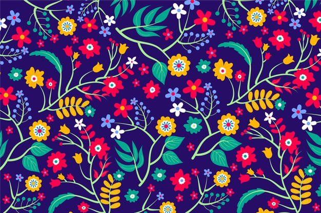 Various colourful flowers and leaves background