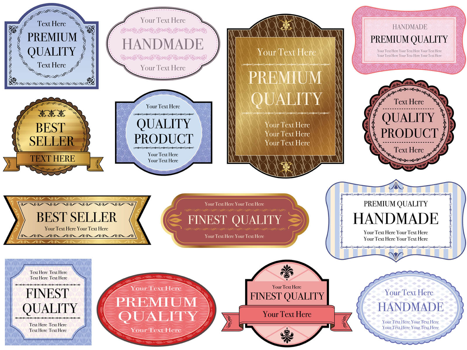 A set of assorted labels with text spaces