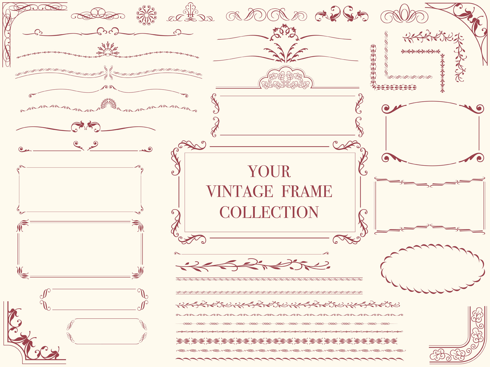 A set of assorted vintage frames