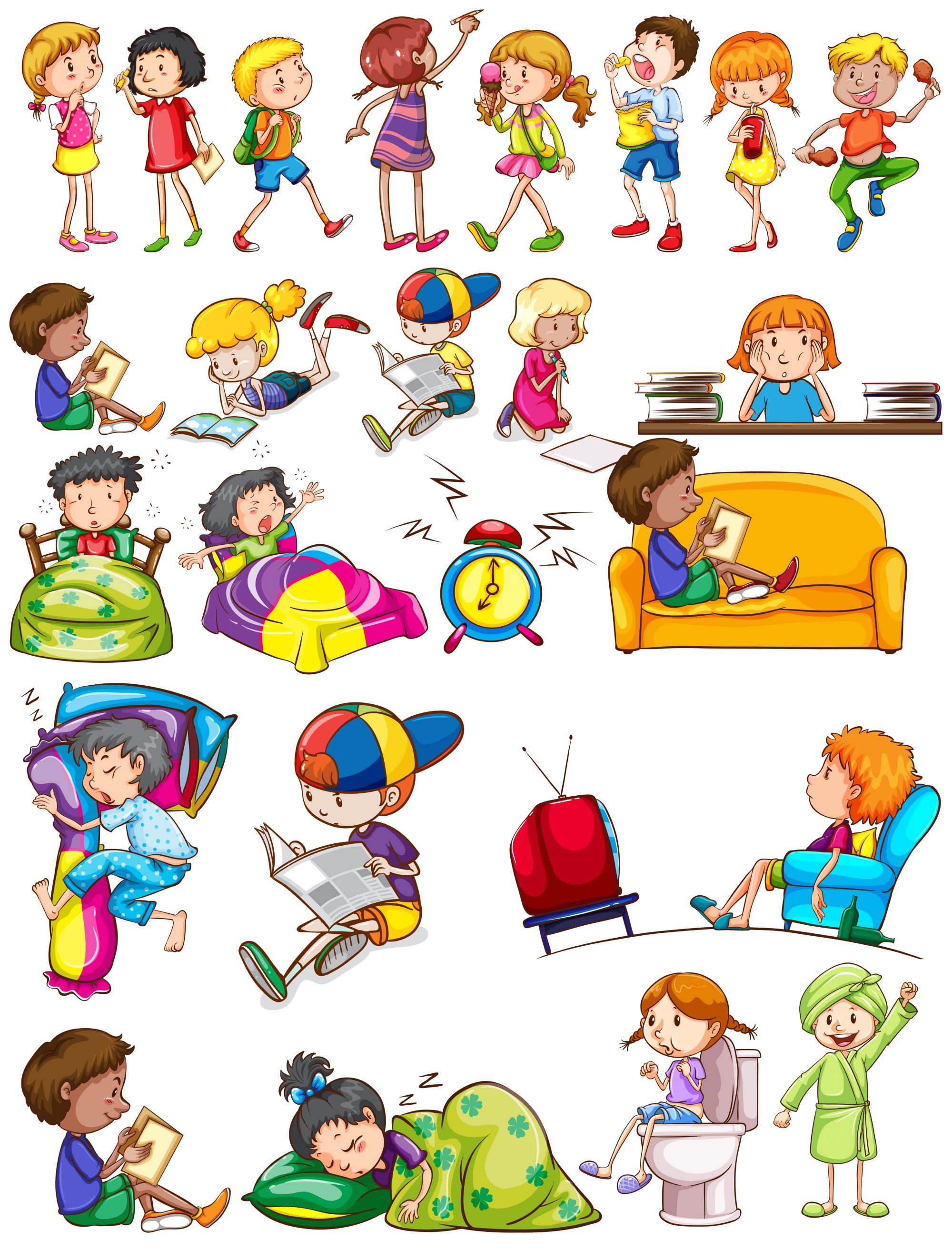 Boys and girls doing activities