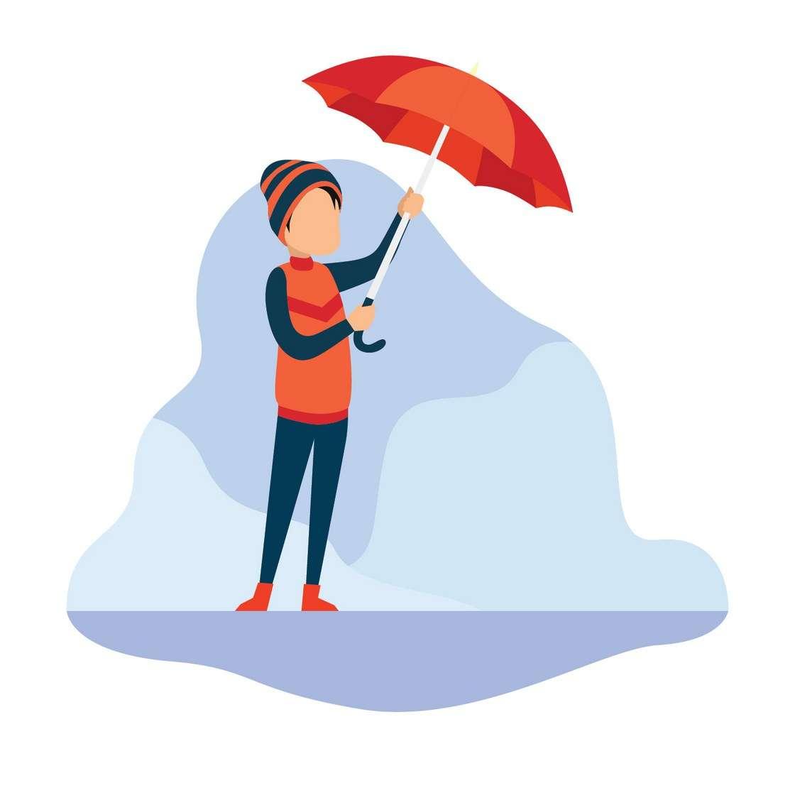 Boy with his umbrella