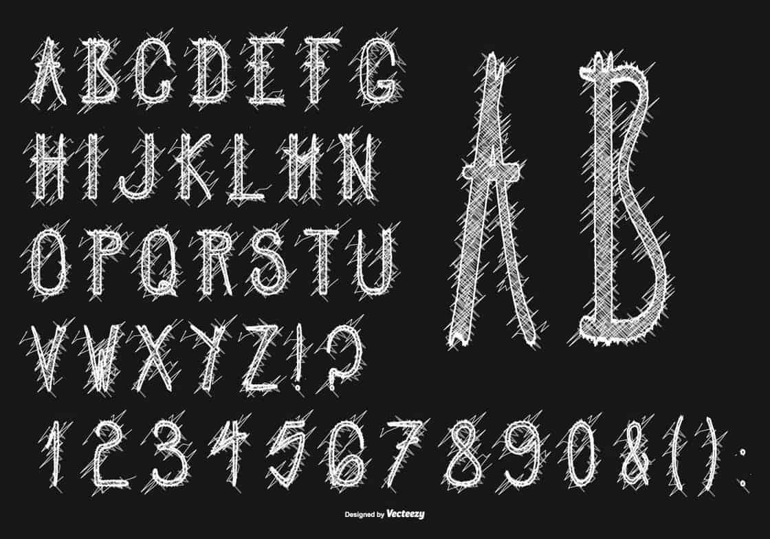 Cute Messy Scribble Syle Alphabet