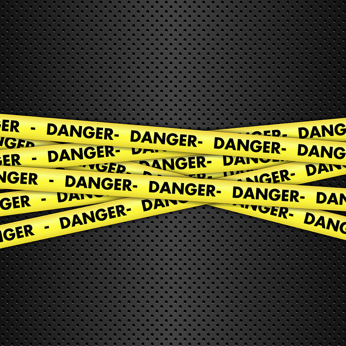Danger tape on metallic background