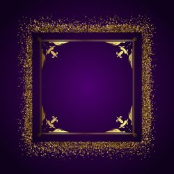 Decorative frame background with gold glitter