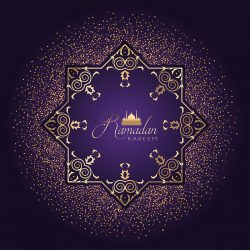 Decorative Ramadan background with confetti