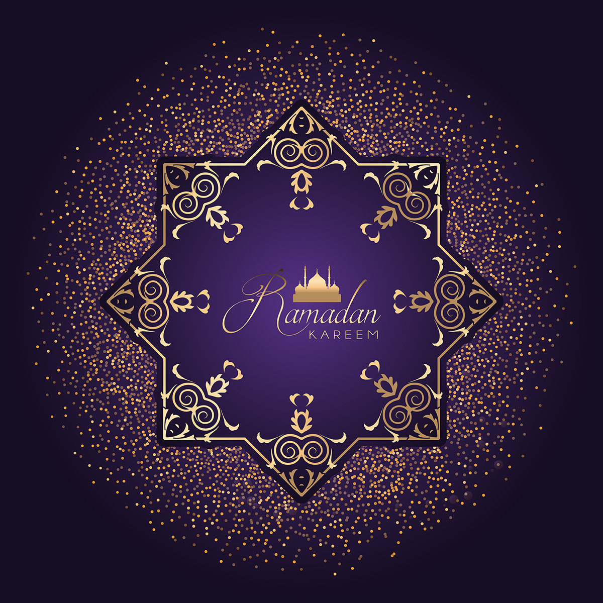Decorative Ramadan background with confetti