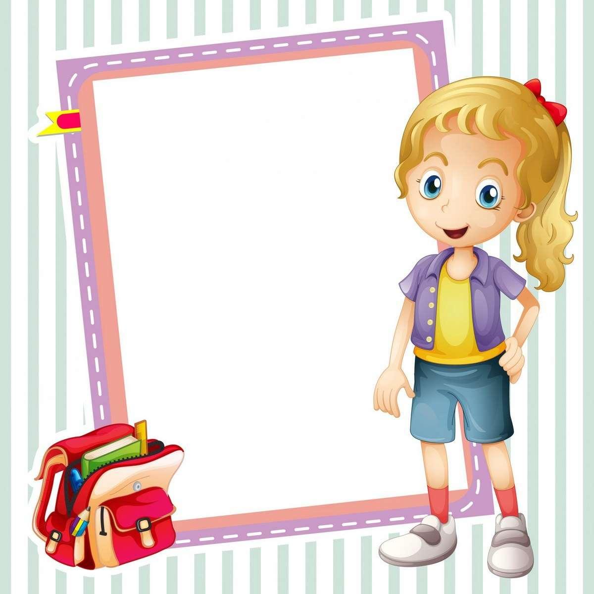 girl school bag and white board