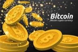Golden Bitcoin symbols background