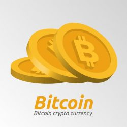 Golden Bitcoin symbols background
