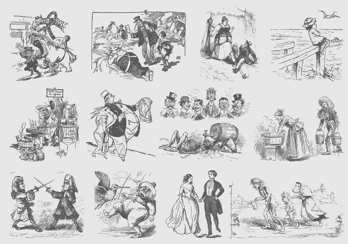 Gray Vintage Cartoons