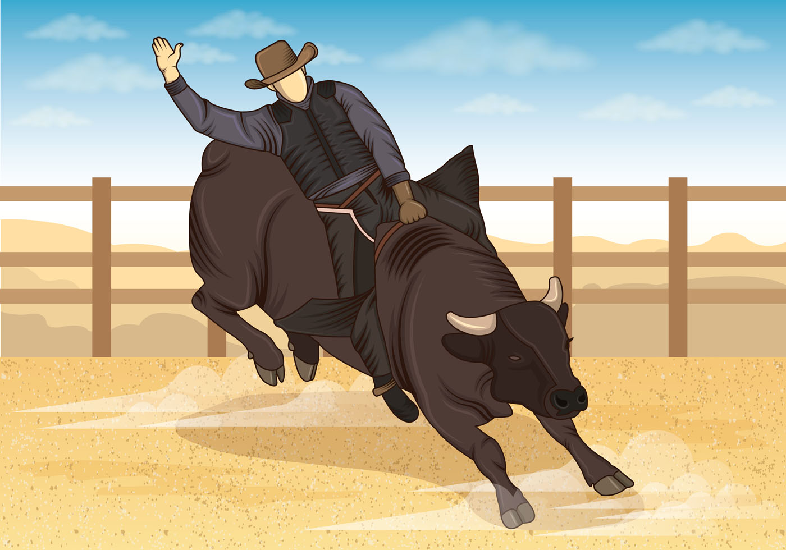 Illustration Of Bull Riders