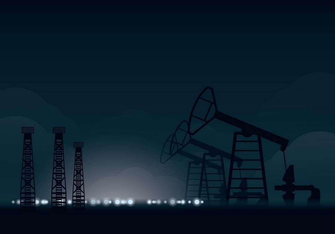 Oil Field Night Illustration