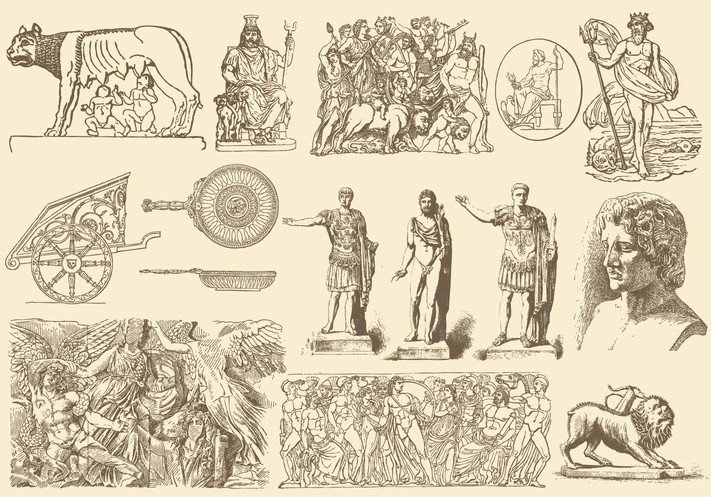 Sepia Greek Art Illustrations