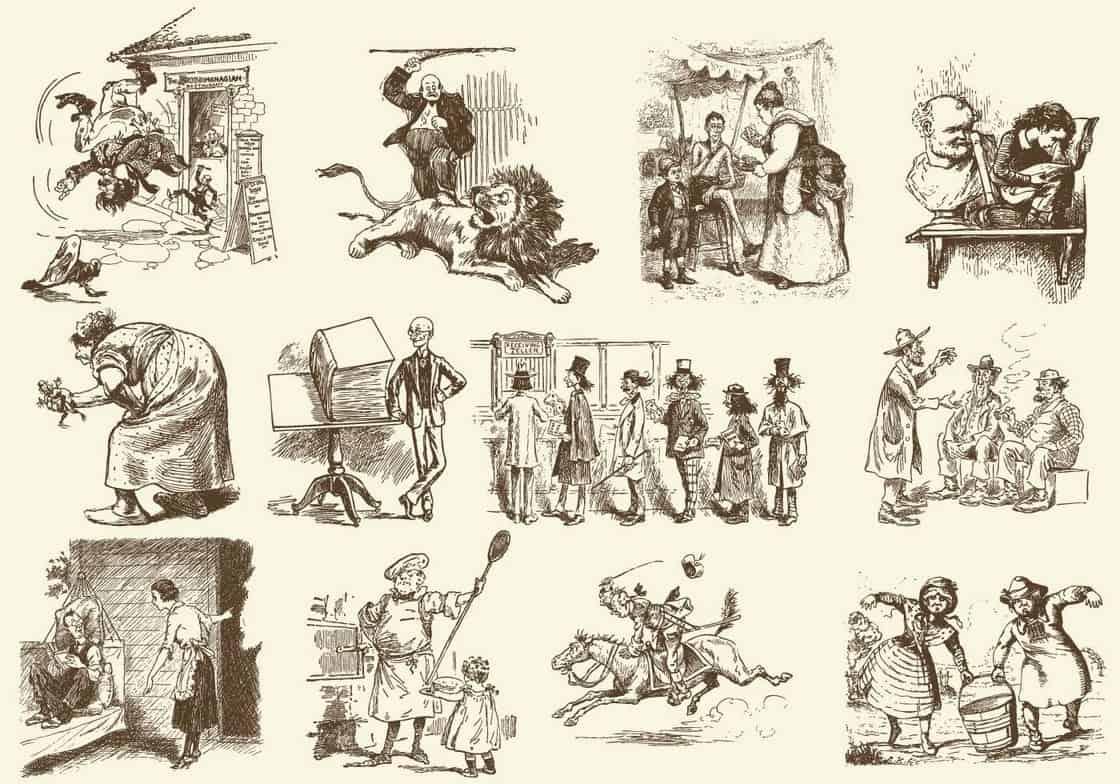 Sepia Vintage Cartoons