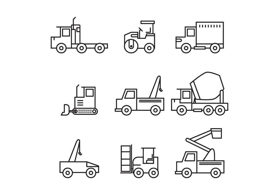 Set Of Construction Trucks Icons