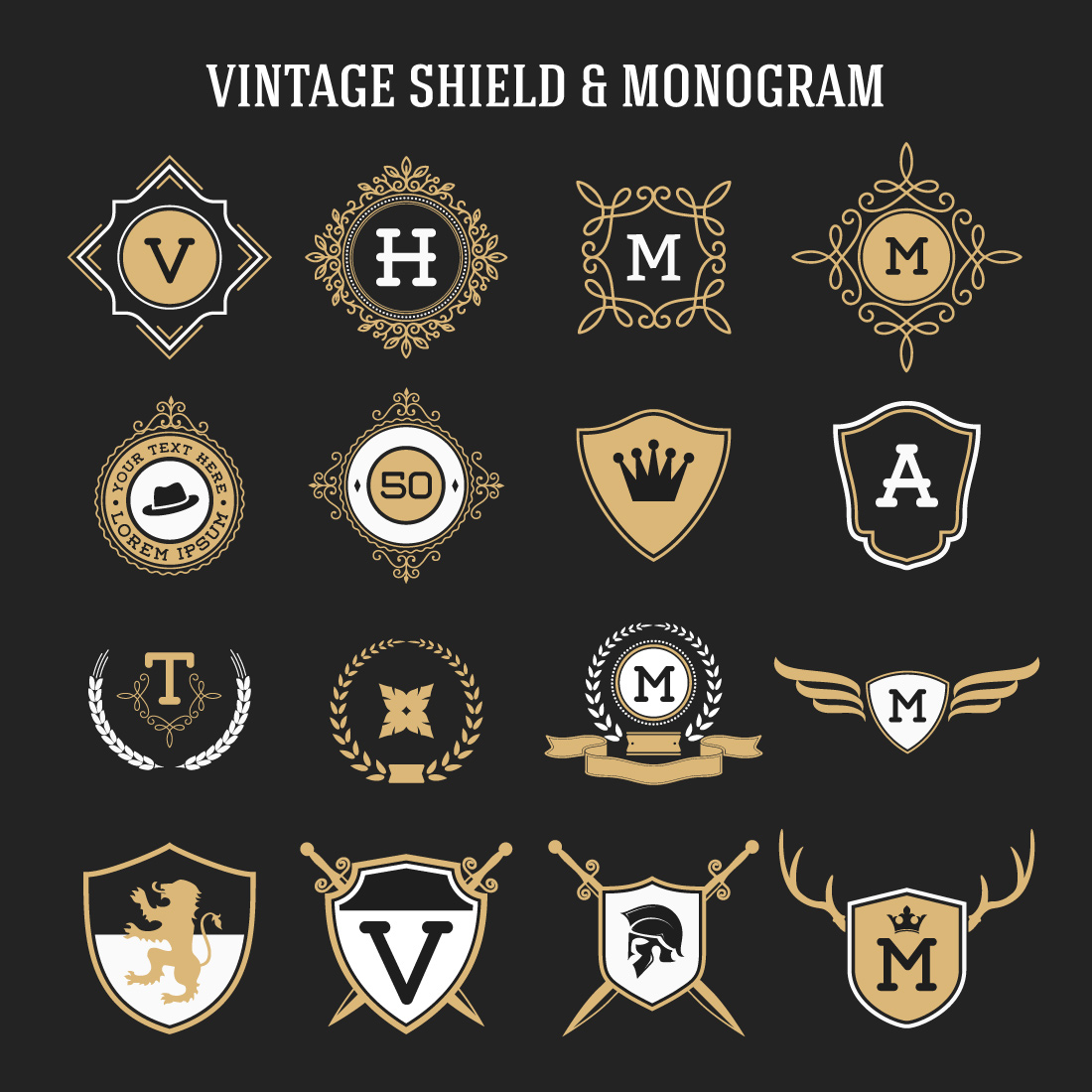 set of vintage monogram and shield elements