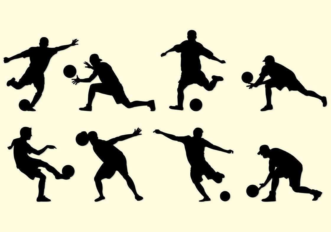 Silhouette Of Kickball Players