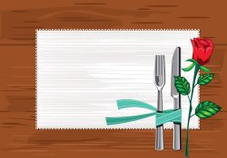Template Close up of Plate with Knives and Fork and a serviette on the table