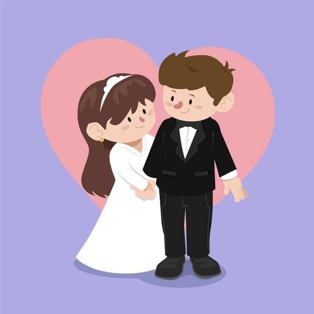 Wedding couples in flat design