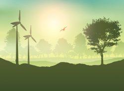 Wind turbines and tree landscape