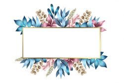 Winter flowers with empty rectangle banner