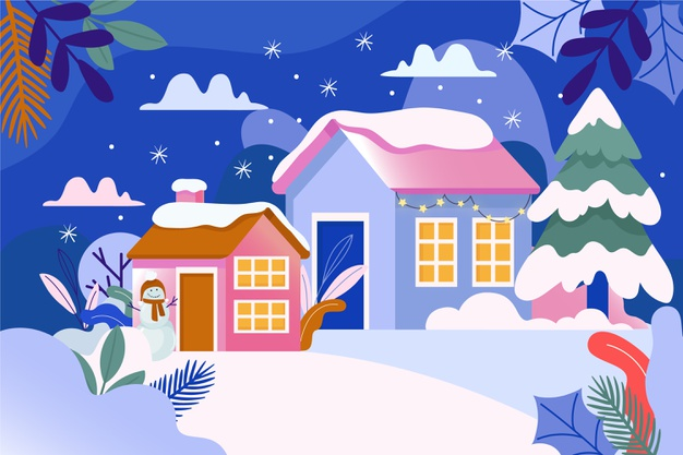 Winter town scene surrounded by snow