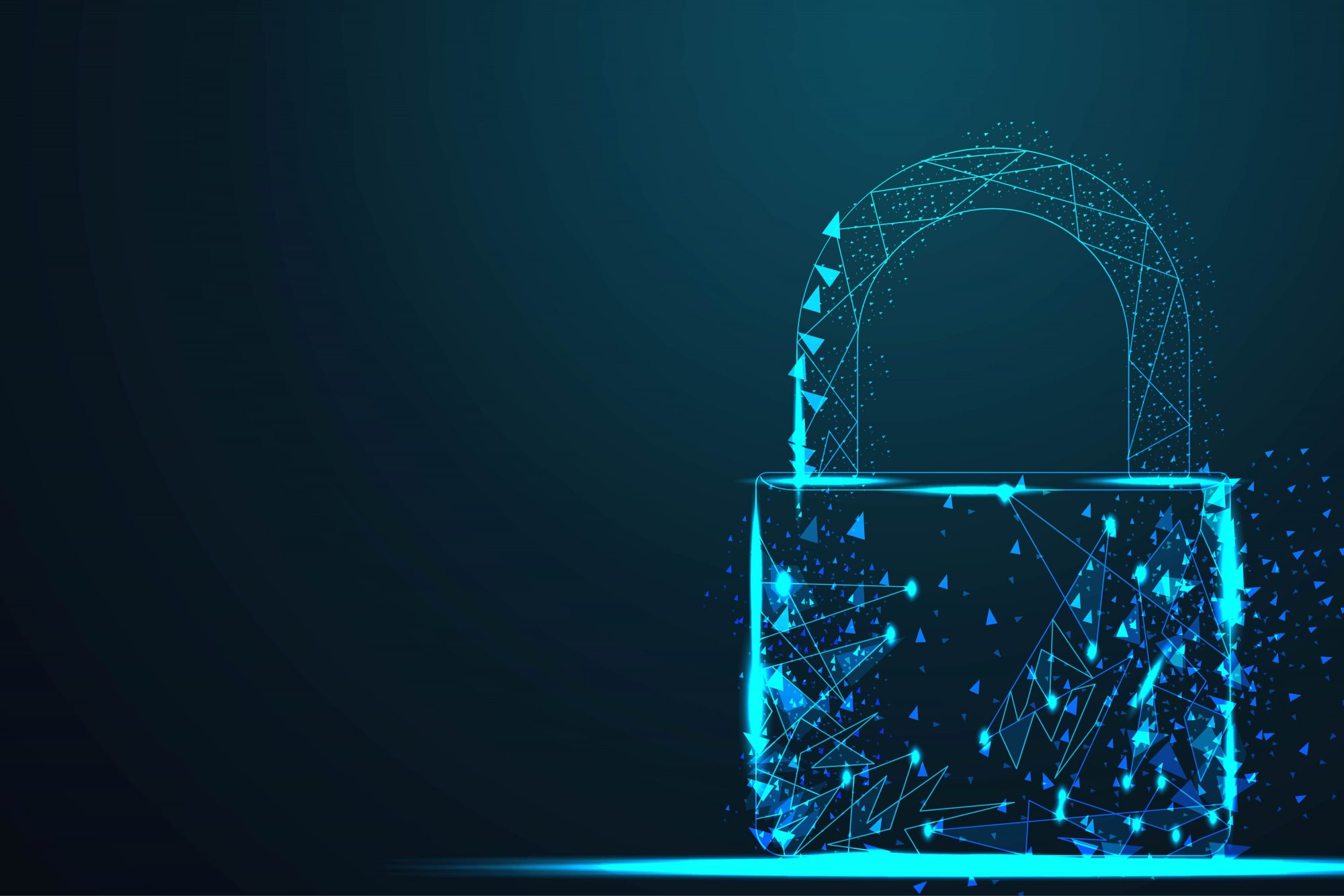 Wire Low Poly Cyber Lock Security Padlock