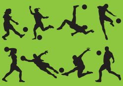 Woman And Man Soccer Silhouettes