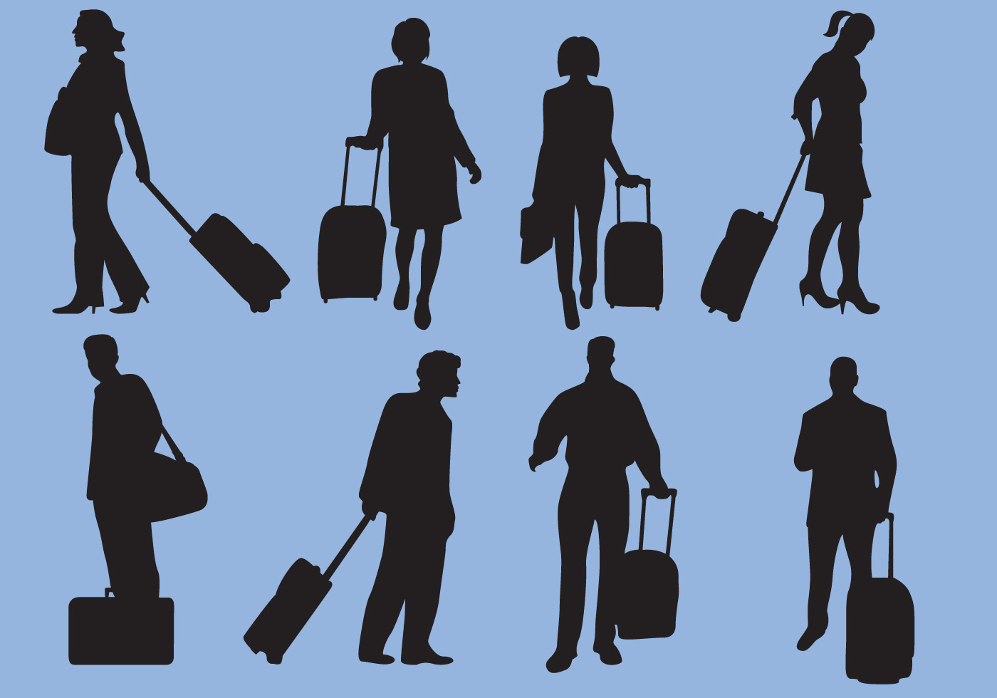 Woman And Man Traveling Silhouette Vectors