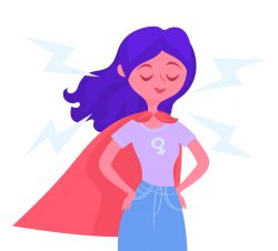 Woman with superhero cape