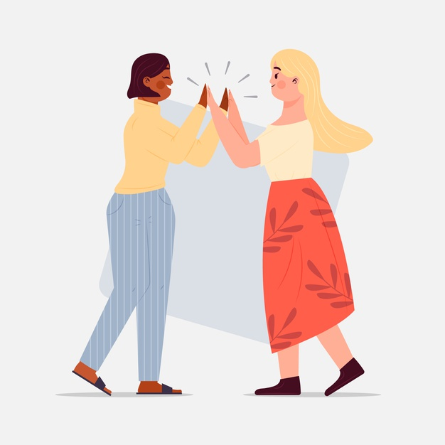 Women giving high five illustration