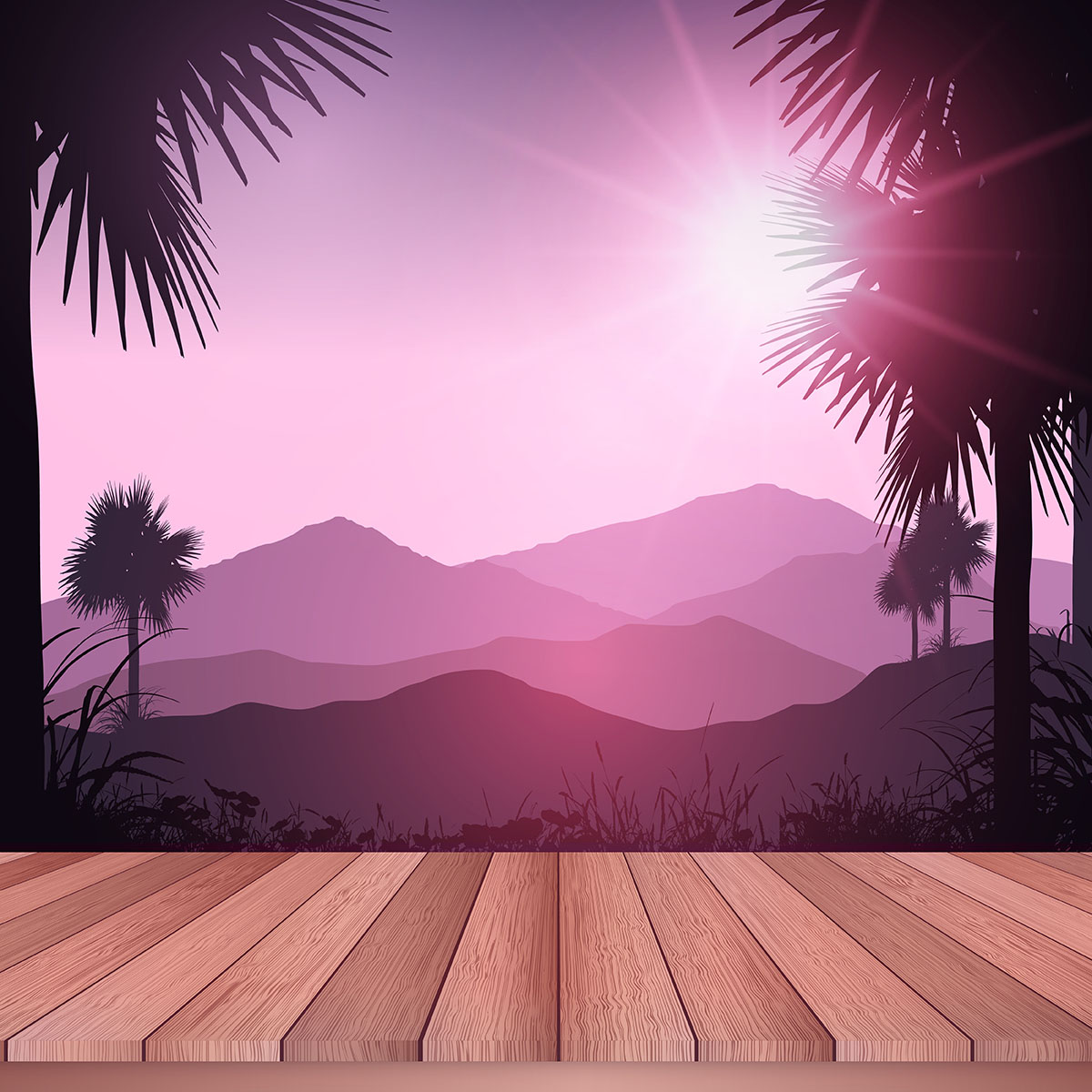Wooden deck looking out to tropical landscape