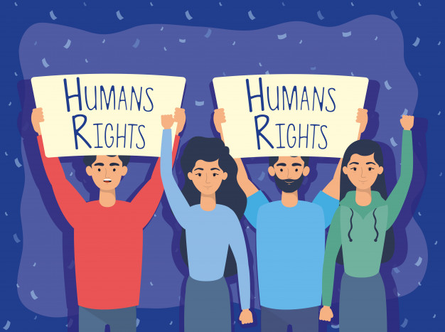 Young people group with human rights label vector illustration design