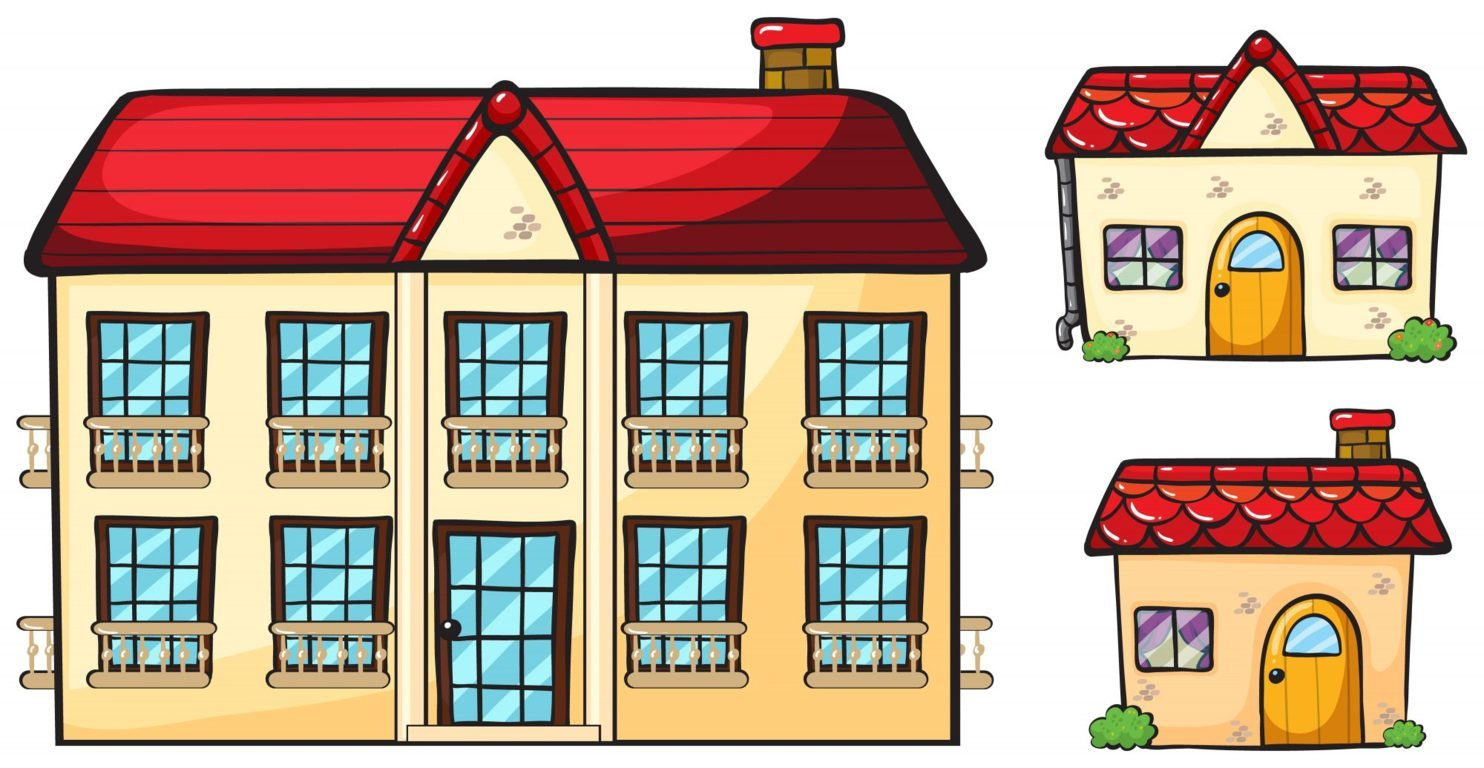 A big apartment and two small houses