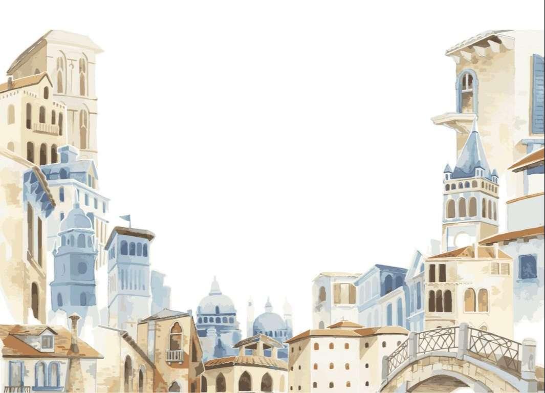 Illustration of Mediterranean city building