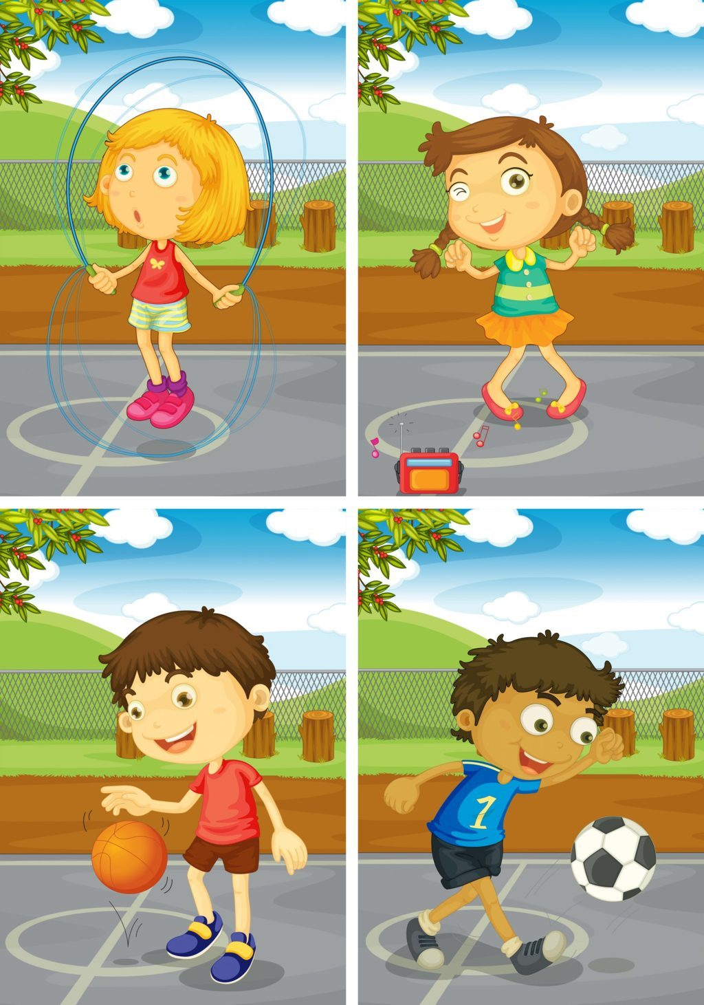 Kids in various sport activity