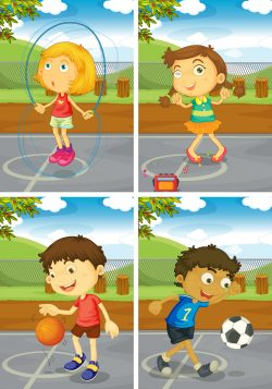 Kids in various sport activity