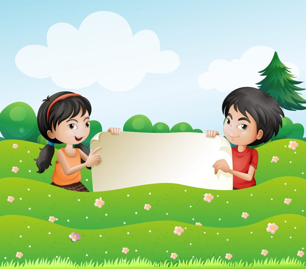 A boy and a girl holding an empty cardboard