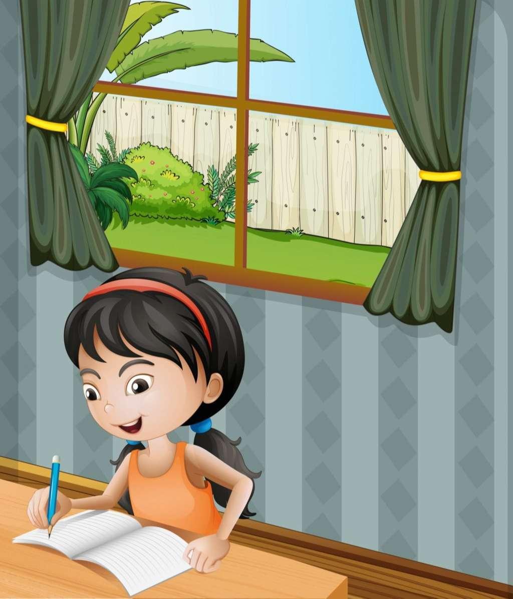 A girl with a headband writing