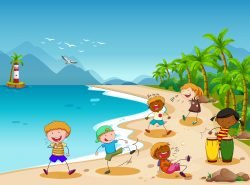 Children and beach
