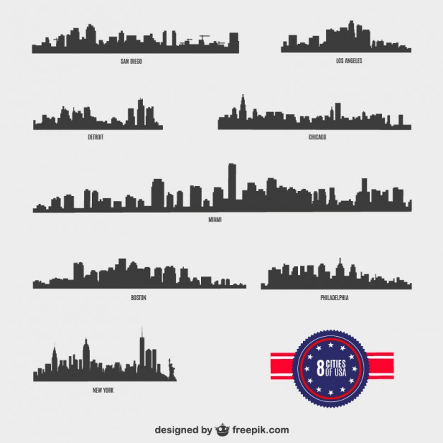 American Cities vector silhouettes   Vector | Free Download