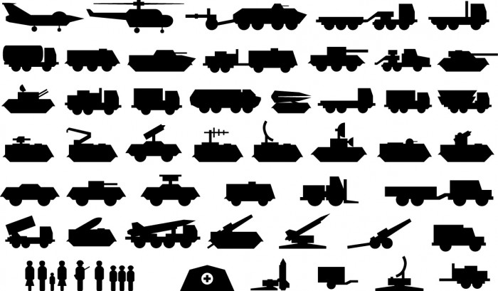 Army vehicle icons Vector