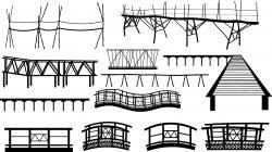 Bamboo bridge pier silhouettes Vector