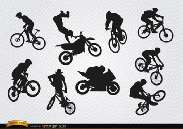 BMX bicycle silhouettes vector set  Vector | Free Download